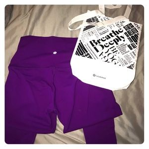 Bright purple lulu lemon leggings